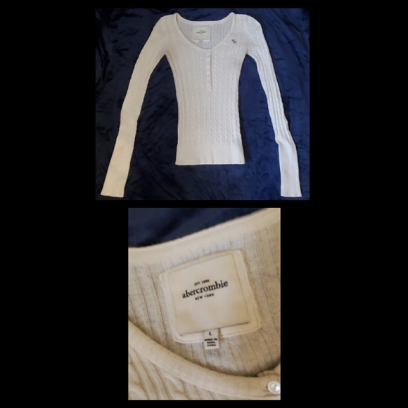 Abercrombie & Fitch Sweaters - White lightweight sweater